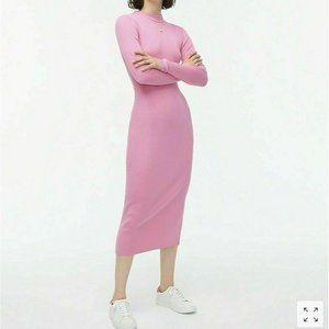 NEW J Crew LARGE Dress Wild Petunia Pink Mock Rib